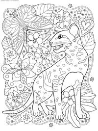 Кот с бабочкой - скачать и распечатать раскраску. Раскраска кот, бабочка, антистресс