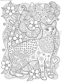 Кот и бабочки - скачать и распечатать раскраску. Раскраска кот, антистресс