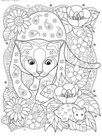 Кот выслеживает мышь - скачать и распечатать раскраску. Раскраска кот, мышь, антистресс