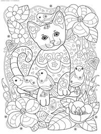 Кот и воробьи - скачать и распечатать раскраску. Раскраска кот, антистресс