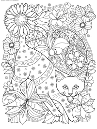 Кот мяукает - скачать и распечатать раскраску. Раскраска кот, антистресс