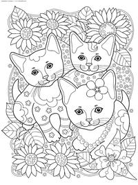 Котята в саду - скачать и распечатать раскраску. Раскраска котята, антистресс