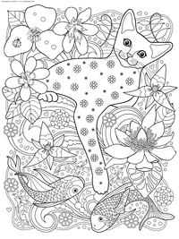 Кот с рыбками - скачать и распечатать раскраску. Раскраска кот, антистресс