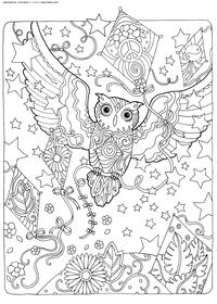 Полет воздушного змея - скачать и распечатать раскраску. Раскраска сова, антистресс