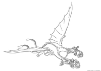 Зибияка и Забирака летают на Пристеголове - скачать и распечатать раскраску. Раскраска Дракон, близнецы, драконьи всадники