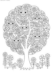 Совы на дереве - скачать и распечатать раскраску. Раскраска совы, антистресс