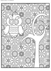 Сова на дереве - скачать и распечатать раскраску. Раскраска сова, антистресс
