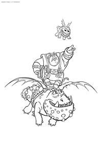 Рыбьеног летает на драконе Сарделька - скачать и распечатать раскраску. Раскраска Викинг, дракон, драконий всадник