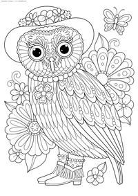 Раскраски антистресс Совы. Сложные раскраски с совами для ...