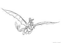 Иккинг летает на Беззубике - скачать и распечатать раскраску. Раскраска Драконий всадник, дракон