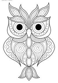 Красивая сова - скачать и распечатать раскраску. Раскраска сова, антистресс