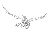 Астрид летает на Громгильде - скачать и распечатать раскраску. Раскраска Драконий всадник, дракон