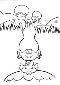 Медитация - скачать и распечатать раскраску. Раскраска Раскраски Тролли, раскраски Тролли распечатать, раскраски из мультика Тролли