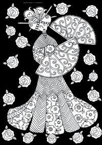 Девушка с веером - скачать и распечатать раскраску. Раскраска антистресс