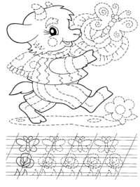 Козлик - скачать и распечатать раскраску. Раскраска Козленок с букетом, пропись для ребенка, подготовка руки к письму, раскраска для детей, капуста, бабочка, соедини линии, соедини точки, разукрашка для детей