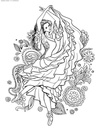 Балерина - скачать и распечатать раскраску. Раскраска антистресс