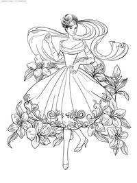 Элегантная девушка - скачать и распечатать раскраску. Раскраска антистресс