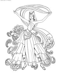 Танцовщица - скачать и распечатать раскраску. Раскраска антистресс