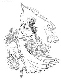 Движение в танце - скачать и распечатать раскраску. Раскраска антистресс