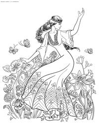 Славянские танцы - скачать и распечатать раскраску. Раскраска антистресс