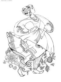 Девушка в шароварах - скачать и распечатать раскраску. Раскраска антистресс