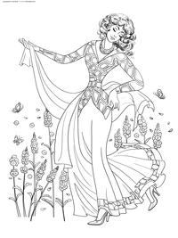 Элегантная дама - скачать и распечатать раскраску. Раскраска антистресс