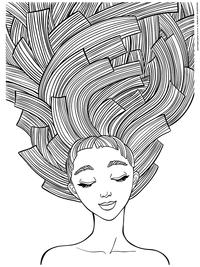 Длинные волосы - скачать и распечатать раскраску. Раскраска антистресс