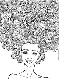 Пышные волосы - скачать и распечатать раскраску. Раскраска антистресс
