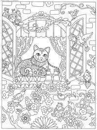 Кошка в окошке - скачать и распечатать раскраску. Раскраска антистресс, кот