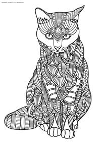 Кот - скачать и распечатать раскраску. Раскраска антистресс, кот