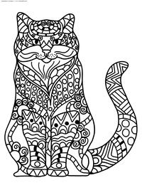 Кот - скачать и распечатать раскраску. Раскраска кот, антистресс