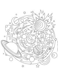 Солнечная система - скачать и распечатать раскраску. Раскраска космос, мандала, антистресс