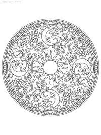 Солнце и Месяц - скачать и распечатать раскраску. Раскраска мандала, антистресс