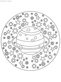 Сатурн - скачать и распечатать раскраску. Раскраска сатурн, антистресс, звезды