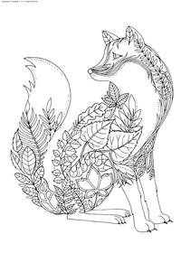 Лиса - скачать и распечатать раскраску. лиса, атистресс