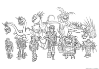 Драконы и викинги - скачать и распечатать раскраску. Команда Олуха, все персонажи мультфильма Как приручить дракона 3