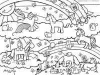 Единорожки и кошки - скачать и распечатать раскраску. Раскраска антистресс
