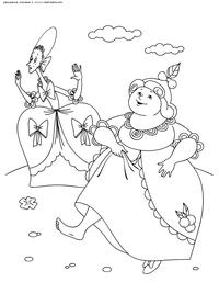 Сестры Золушки бегут примерять хрустальную туфельку - скачать и распечатать раскраску. Раскраска Советские мультфильмы раскраски для детей
