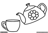 Чайник и чашка - скачать и распечатать раскраску. Раскраска Раскраска чайник, раскраска чашка, кружка, картинка заварной чайник для раскрашивания детьми. Простые раскраски для малышей
