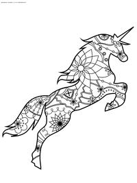 Единорог - скачать и распечатать раскраску. Раскраска единорог, антистресс
