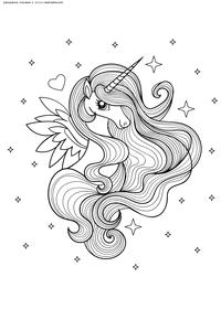 Единорог с крыльями - скачать и распечатать раскраску. Раскраска единорог