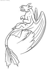 Дракон Беззубик - скачать и распечатать раскраску. Раскраска Дракон, Ночная Фурия