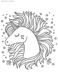 Единорог - скачать и распечатать раскраску. Раскраска единорог