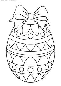 Пасхальное яйцо с бантом - скачать и распечатать раскраску. Раскраска пасха, яйцо