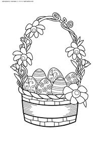 Корзина пасхальных яйц - скачать и распечатать раскраску. Раскраска Пасхальная корзина скачать картинку