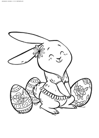 Пасхальный кролик - скачать и распечатать раскраску. Раскраска Кролик собирает пасхальные яйца