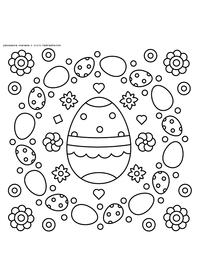 Пасхальные яйца - скачать и распечатать раскраску. Раскраска Разукраска пасха скачать, корзинка с яйцами