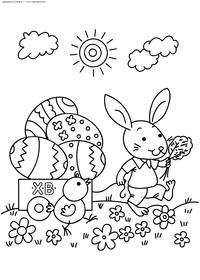 Кролик - скачать и распечатать раскраску. Раскраска Пасхальный кролик, кролик держит корзинку яиц