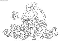 Корзинка Пасхальных яиц - скачать и распечатать раскраску. Раскраска Пасха, антистресс