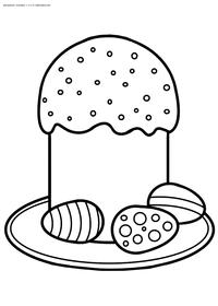 Пасхальное угощение - скачать и распечатать раскраску. Раскраска пасха, кулич, яйца